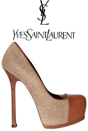Camilla Belle's Reiss Nikita Dress And YSL Tribtoo Woven Linen And Leather Pumps