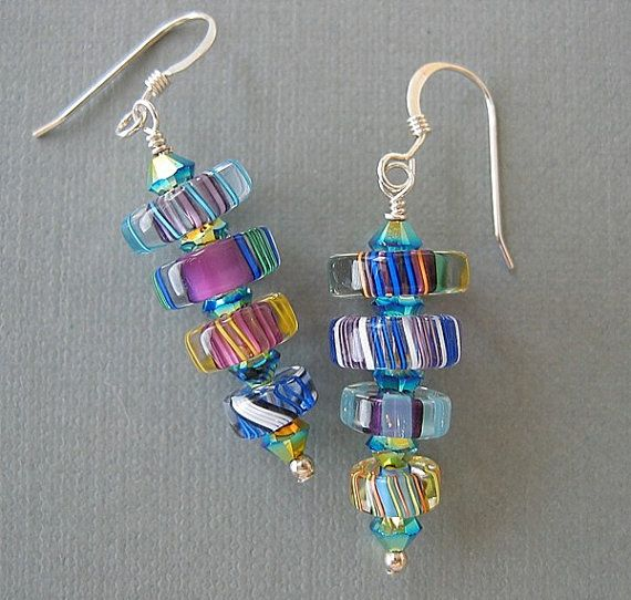 Purple and Bluetone Furnace Glass Cane Glass Art by redrosejewelry