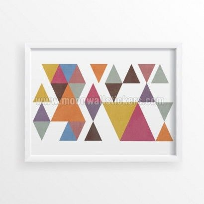 Triangles Geometric Poster - Moon Wall Stickers