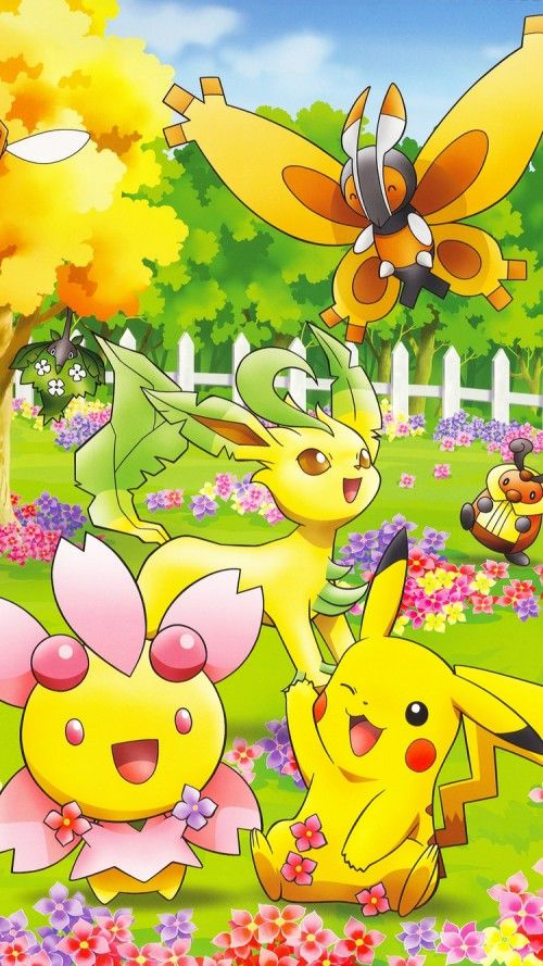 Cute Pokemon on iPhone 6 with Colorful Natures