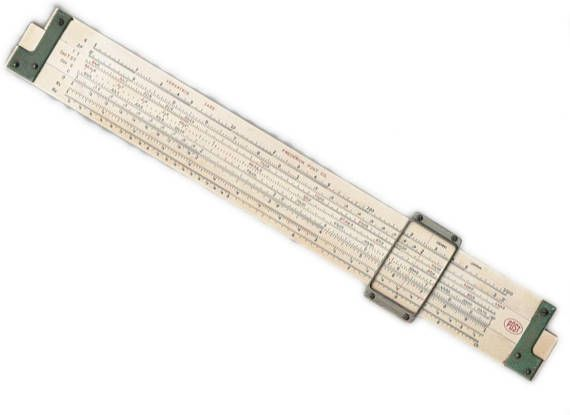 Post Versatrig 1450 bamboo slide rule with glass cursor, Hemmi Japan, 12-3/5 inches long $15.00