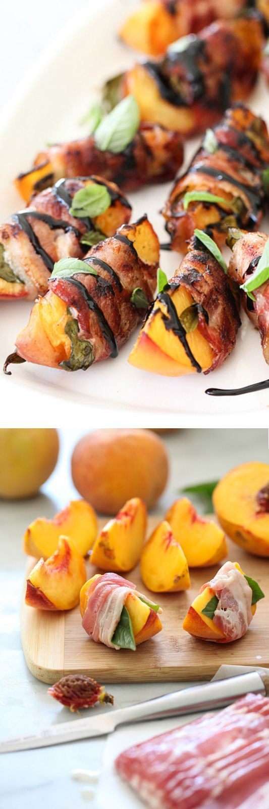 Bacon Wrapped Grilled Peaches with Balsamic Glaze #peaches #bacon #appetizer