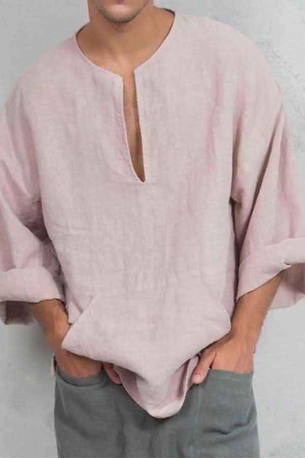 Mens Long Sleeve Cotton Linen T Shirt V Neck Blouse Casual Loose Beach Tee Tops