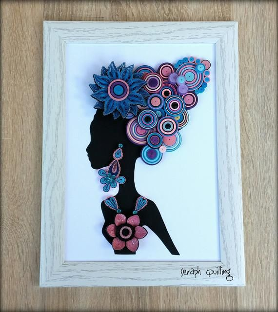 African Woman Quilling Wall Art Home Decor Free Shipping Abstract Portrait Portrait Art Abstract