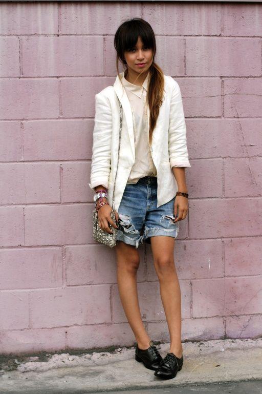 White blazer, denim shorts