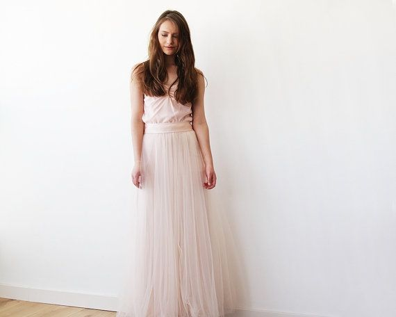 Gonna in Tulle maxi fard rosa damigelle d'onore di BLUSHFASHION