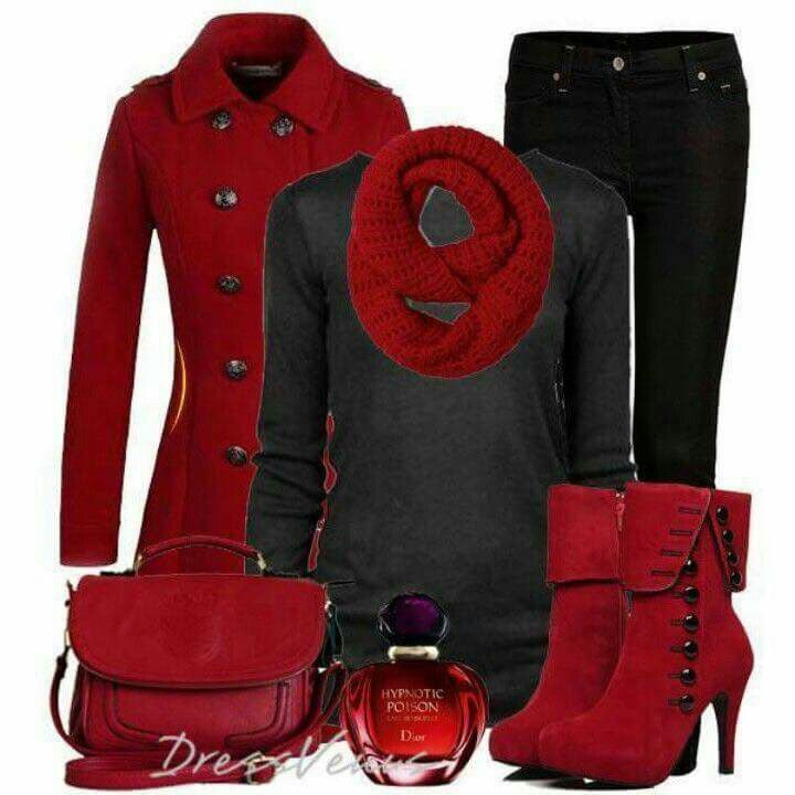 So pretty, red & black and....look at that shoes with buttons!!! I adore them!