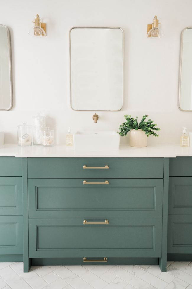 7 Bathroom Vanity Cabinet Colors You Ll See Everywhere In 2020 In 2020 Bathroom Design Bathrooms Remodel Green Bathroom