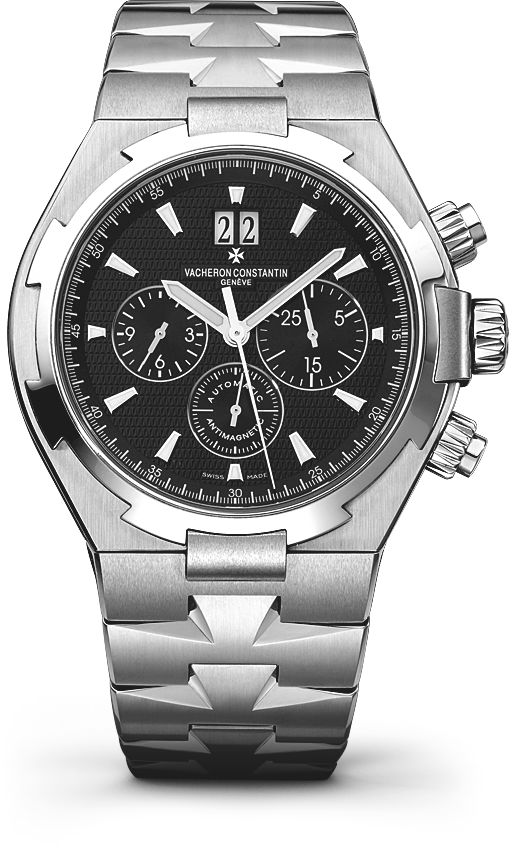 OVERSEAS CHRONOGRAPH Reference: 49150/B01A-9097 Shape: Round Diameter (mm):   42.00 Thickness (mm): 12.45 Material of the case: stainless steel Water-resistance (bar):  15 Informations Watch strap material: stainless steel Watch strap finishing: polished and Satin-finished Specificity:   Screwed-down pushpiece Anti-magnetic protection to 25,000 A/m