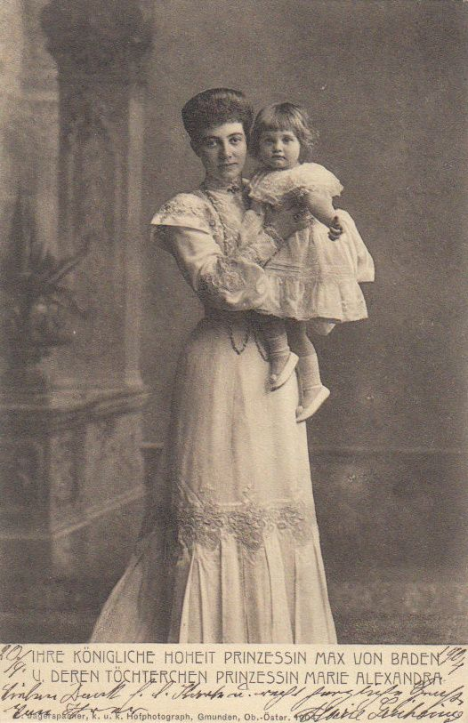 Princess Marie-Louise of Baden holding her daughter Marie Alexandra