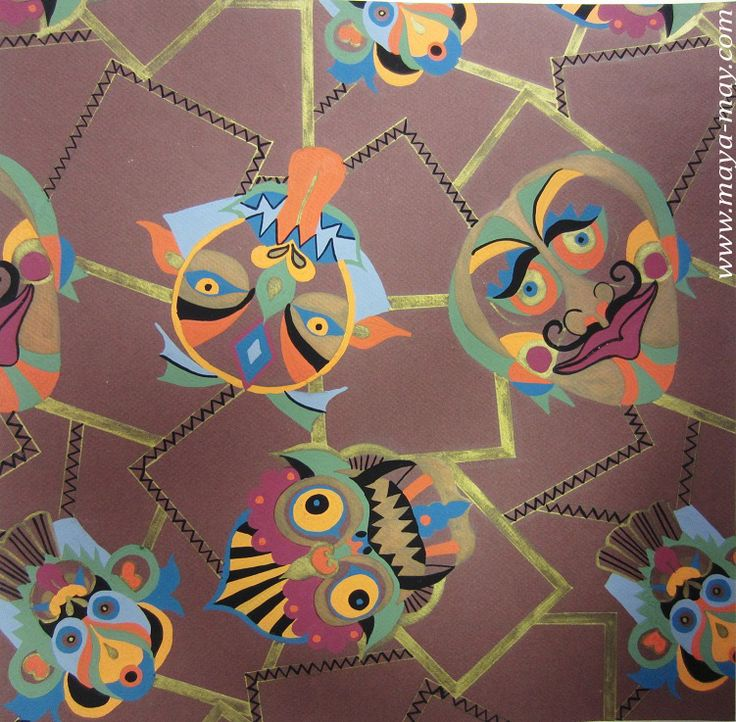 Textile motif design by Angela Kurnia. Color guache on color paper #prints #textiledesign #art #painting #designer #mask #ethnicprint