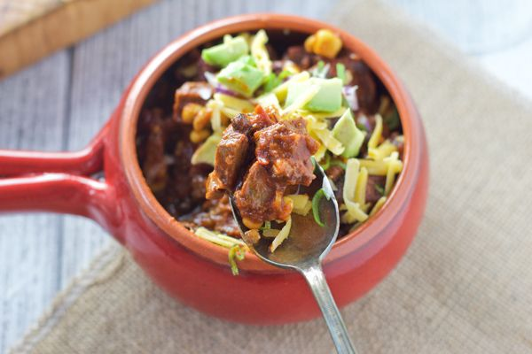 Smoked Beef Brisket Chili. Hearty, rich, and delicious!