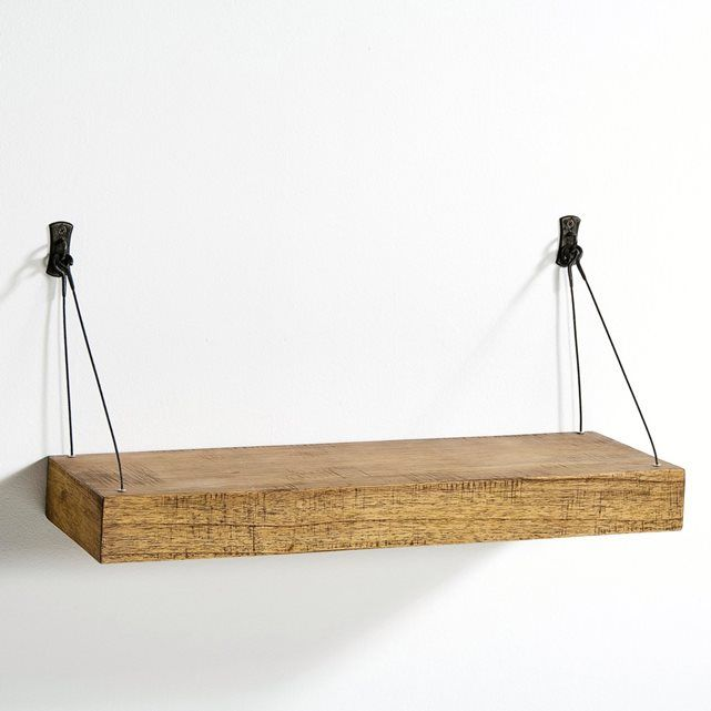 Thick Roots Shelf, 60 cm Wide, Suspended with Metal Cables AM.PM. : price, reviews and rating, delivery. Wall shelf comprising a thick (6.5 cm) multi-ply shelf (for optimum lightness) with an aged finish. Suspended by metal cables, it fixes to the wall via 2 brackets. Length 60 x depth 20 cm. Cable length 26 cm at the front, and 20 cm at the back.
