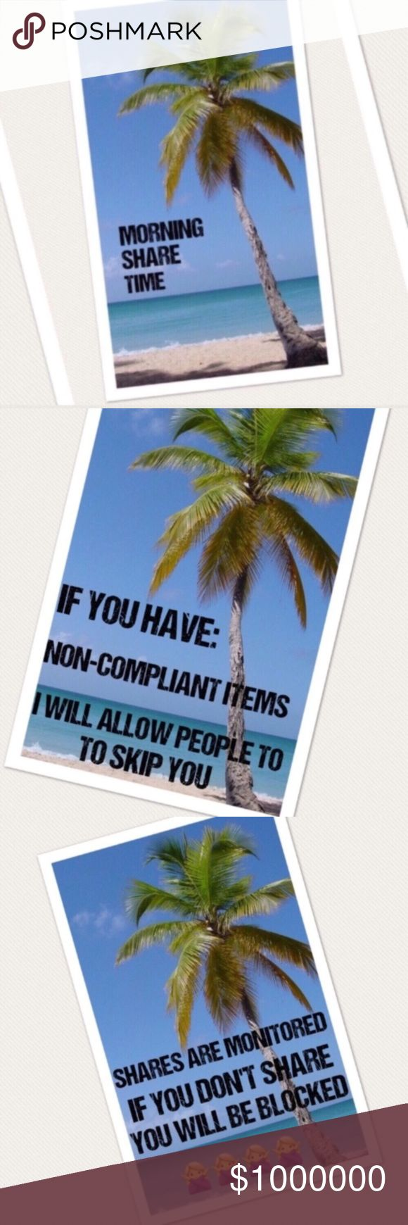 🌴🌴11/11 SAT SIGN UP🌴🌴 4 shares. No worries. Easy breezy.   🌴Please use Q&A listing for questions! No comments until sign up is closed.  🌴Sharing starts at 5am  🌴Sign up closes at 2pm est  🌴Posh compliant closets only. If you're not compliant you risk not being shared 🌴Please complete shares by midnight your time 🌴Mark your spot by using the first 3 characters of the last person you shared. Life gets busy!  Ex: ***back Happy Share Time!! Other