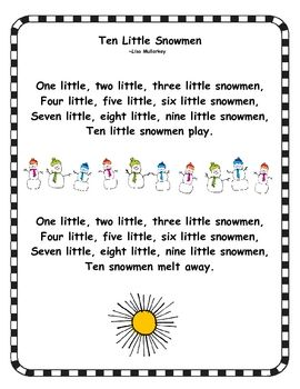 Free: Ten Little Snowmen is perfect for poetry binders, buddy reading, or shared reading activities.