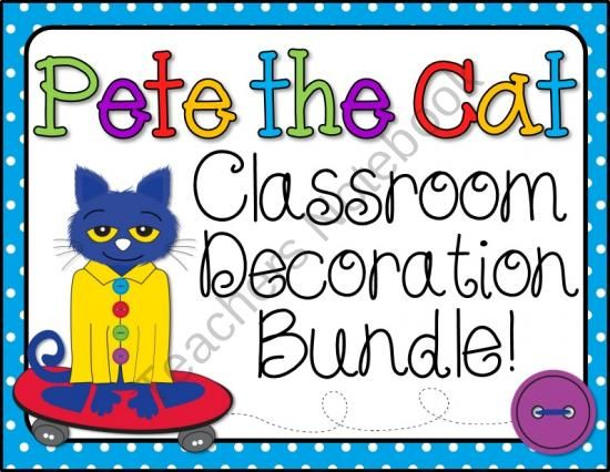 Pete the Cat Room Decor Bundle from Barnard Island on TeachersNotebook.com (55 pages) - This bundle is the perfect accessory for any classroom that is themed around Pete the Cat!