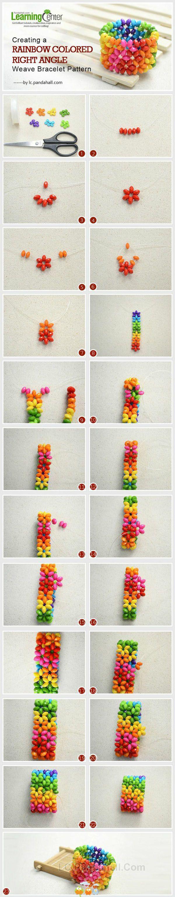 DIT rainbow flower bracelet.