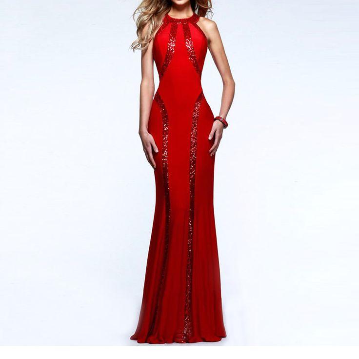 2017 Vintage Dresses Flare Dress Red Black Blue Elegant Sexy Sequin Dress Floor Length Maxi Vestido Longo Party Backless Dresses