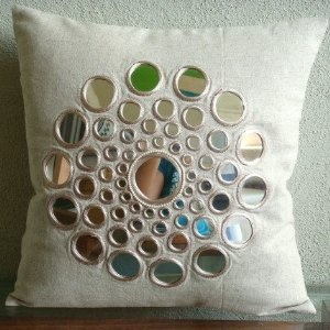 Circle Of Life - Decorative Pillow Covers - Cotton Linen Pillow Cover with Mirror Embroidery