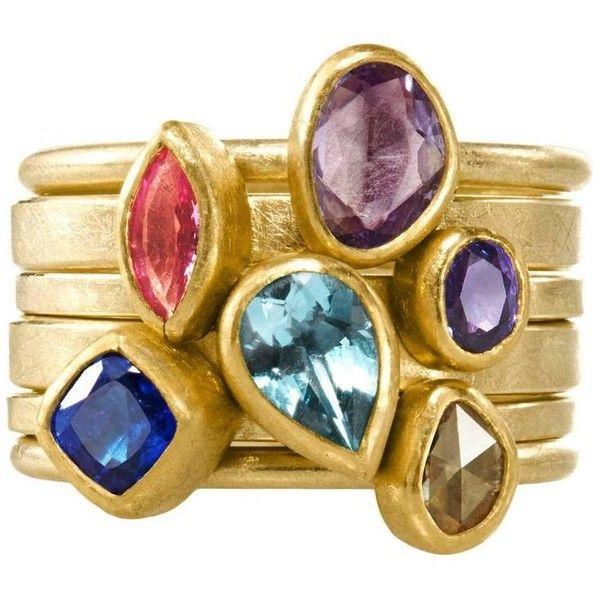 Petra Class Pink Purple Blue Sapphire Aquamarine Yellow Diamond... ($7,150) ❤ liked on Polyvore featuring jewelry, rings, yellow, bezel set ring, blue sapphire stackable ring, blue sapphire band ring, yellow ring and yellow diamond rings
