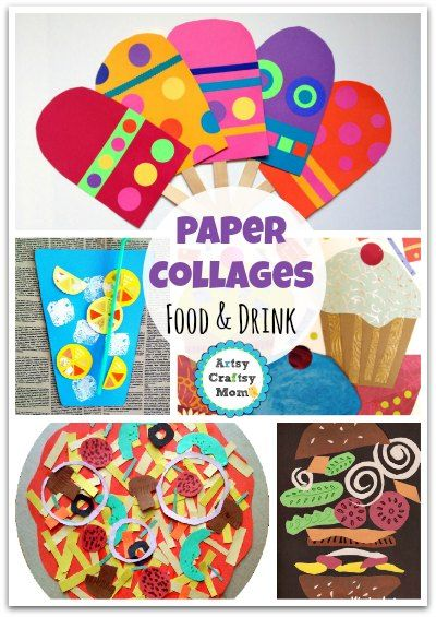 De 25 bedste id er inden for paper collages p pinterest for Food crafts for preschoolers