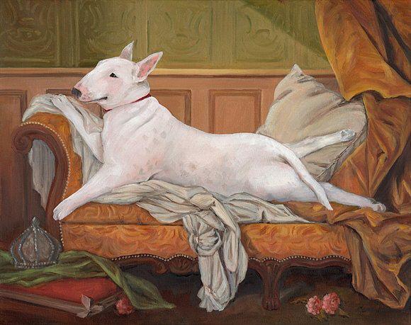 Bull Terrier toile imprimée, inclinable Portrait de chien Bull Terrier, Odalisque par OldWorldPetPortraits sur Etsy https://www.etsy.com/ca-fr/listing/214578672/bull-terrier-toile-imprimee-inclinable