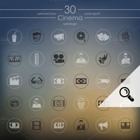 30 CINEMA icons by Palau on Creative Market