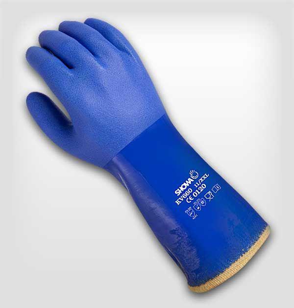Showa - Kv 660 - Kesilmeye Dirençli Kimyasal Eldiven Tam kaplamalı, tüm elde ekstra kaplama Tırtıklı kenar Tüm eldiven üstüne pürüzlü yüzey Özel hidrokarbon işlem Antibakteriyel ve koku önleyici işlem Kevlar® fiberi Anatomik şekil Dikişsiz dokum
