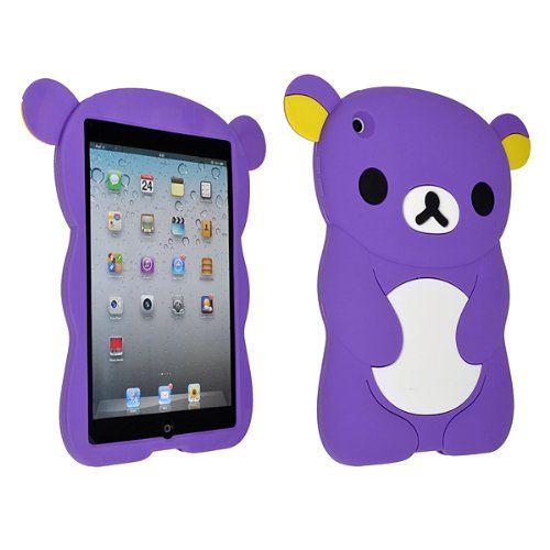 Cute 3D Cartoon Purple Teddy Bear Design Silicone Case Cover Skin for iPad mini