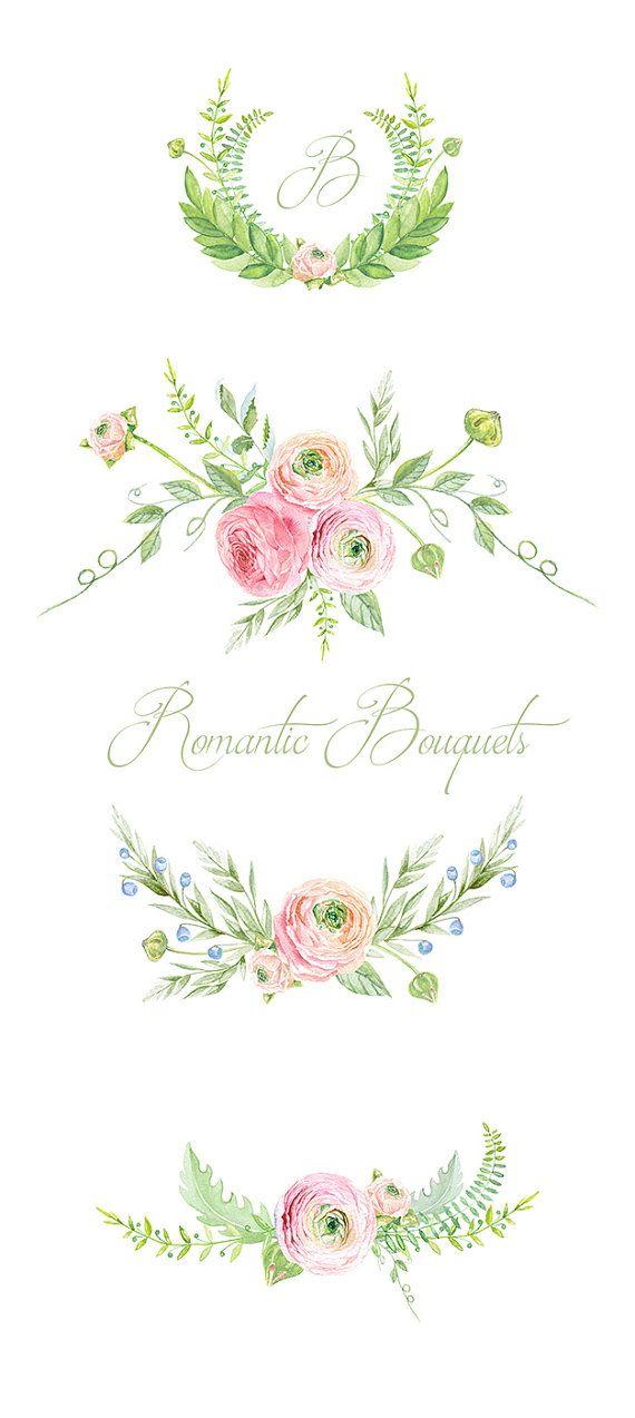 Ranunculus Bouquets fleurs à la main tiré Clip Art par ReachDreams