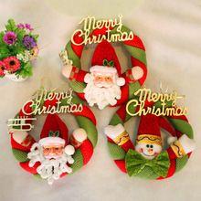 Enfeites de Árvore de natal Tecido Aldrava de Porta Grinalda Do Natal Pendurado Grinalda Do Natal de Papai Noel Do Natal Do Boneco de Neve 20 CM alishoppbrasil