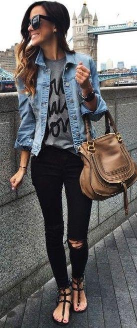 Black destructed jeans, tee under jean jacket, tan leather bag #fall #popular #trends |