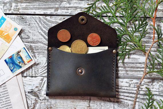 Minimalista cartera de piel billetera sobre cartera: padrinos de boda minimalista cuero tarjeta monedero, monedero de monedas de la bolsa de cuero de regalo  Billetera de cuero envolvente de diseño minimalista. Hecho a mano de cuero de suave piel de vaca de alto grado. Bueno para monedas y dinero.  === ¿Por qué necesita tal carpeta de la tarjeta? === -usted va en alguna parte y no es necesario su cartera regular pero necesita tarjeta/dinero para casos de eme...