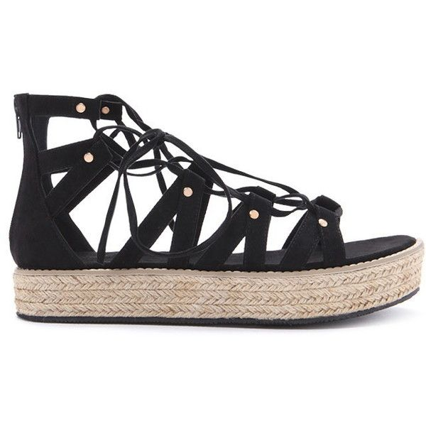 Forever 21 Women's  Lace-Up Espadrille Flatforms (495 ZAR) ❤ liked on Polyvore featuring shoes, platform espadrilles, flatform platform shoes, espadrilles shoes, laced shoes and laced up shoes