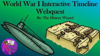 World War I Timeline Webquest   Students will gain important knowledge about key events and dates in World War I by completing an internet-based worksheet. The World War I Timeline Webquest uses an amazing interactive timeline to guide students through World War I using pictures, short videos, and easy to read sentences.