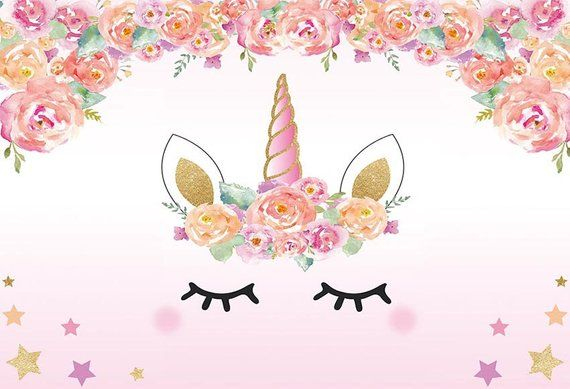 Unicorn Floral Baby Shower Birthday Photography Studio Backdrop