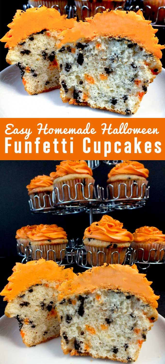 Our Easy Homemade Halloween Funfetti Cupcakes taste so great and are a festive addition to any Halloween cupcake you plan on making this Halloween. Forget about store-bought Funfetti cake mix, make your own colorful sprinkle filled Halloween Treats.  Follow us for more fun Halloween Food Ideas.