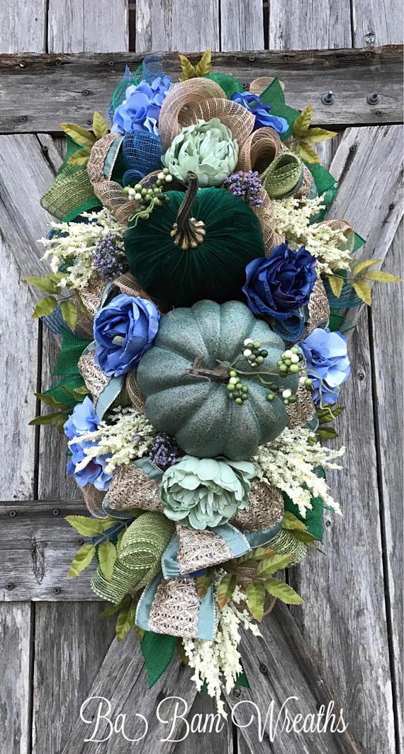 Teal Wreath Fall Wreath Fall Swag Autumn Swag Autumn
