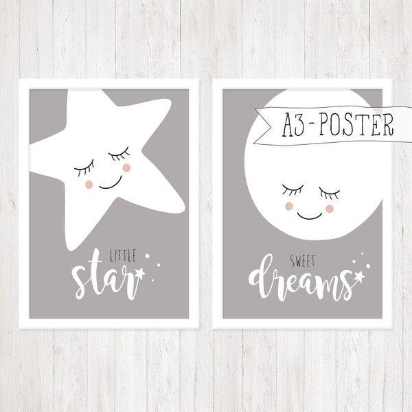 Drucke & Plakate – A3-Poster, 2er-Set, Stern & Mond, grau – ein Designerstück von ngmSTYLE bei DaWanda