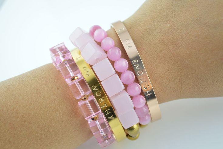 Pink and golden bracelet stack! Postive Quotes Bracelet! I AM WORTHY! I AM ENOUGH!