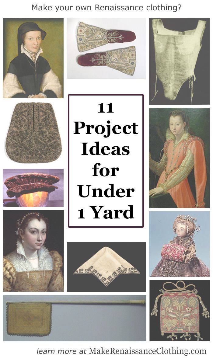 11 Renaissance project ideas for remnants and tiny yardages of fabric   Click through to learn more! From Make Renaissance Clothing.