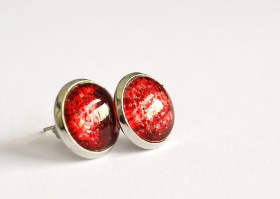 Sparkling #red post #earrings - round glass cabochon and #glitters by #veracreations on #etsy