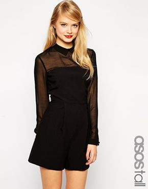 Enlarge ASOS TALL Romper With Collar and Sheer Sleeves