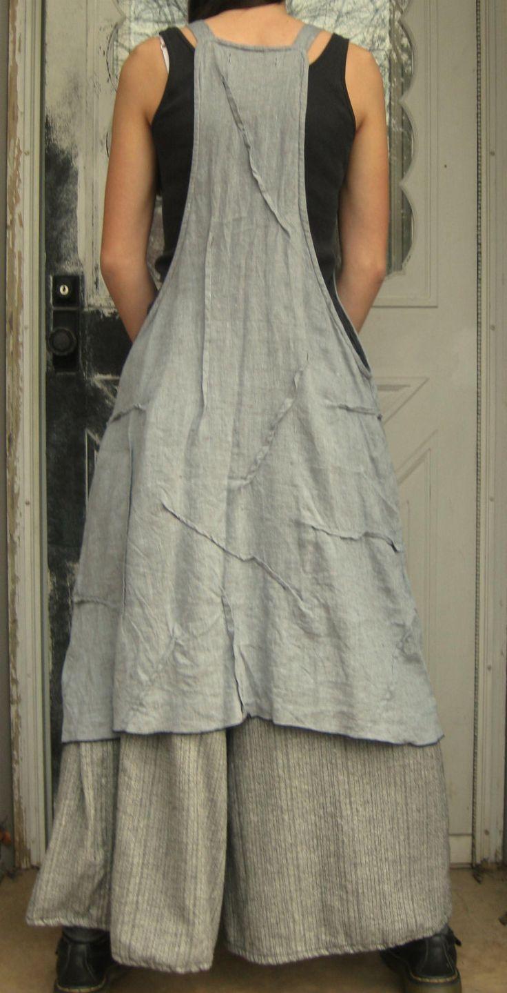 Plain white apron toronto - Gray Crossweave Linen Rose Apron Jumper S M