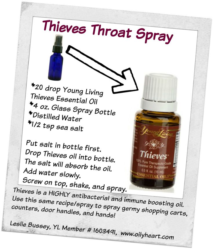 Legend has it that in the 15th century during the bubonic plague there were some robbers that entered the houses of the dying to rob the people of their goods but in doing so covered themselves with a recipe that kept them well. In exchange for immunity they shared this recipe...hence our THIEVES oil of today. Thieves Throat spray that you can make using Young Living Thieves oil. http://www.oilyheart.com/order.html More