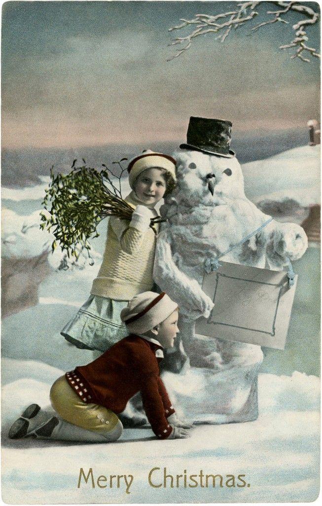 Vintage Christmas Snowman Photo! - The Graphics Fairy