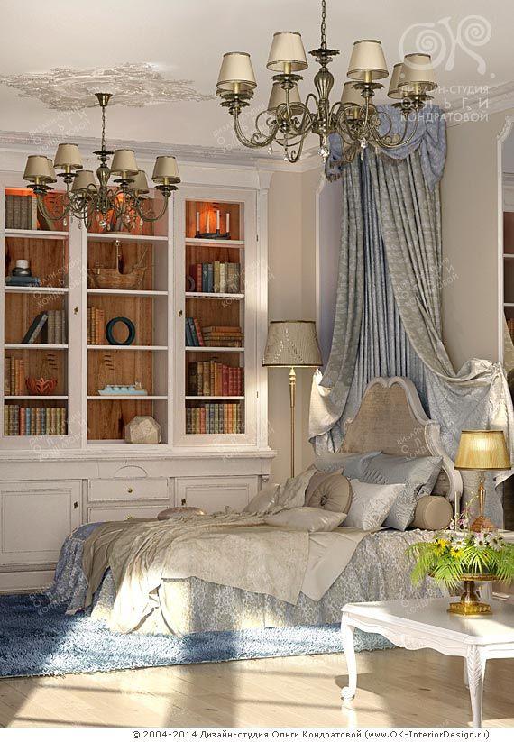 Патинированный белый сервант в интерьере спальни