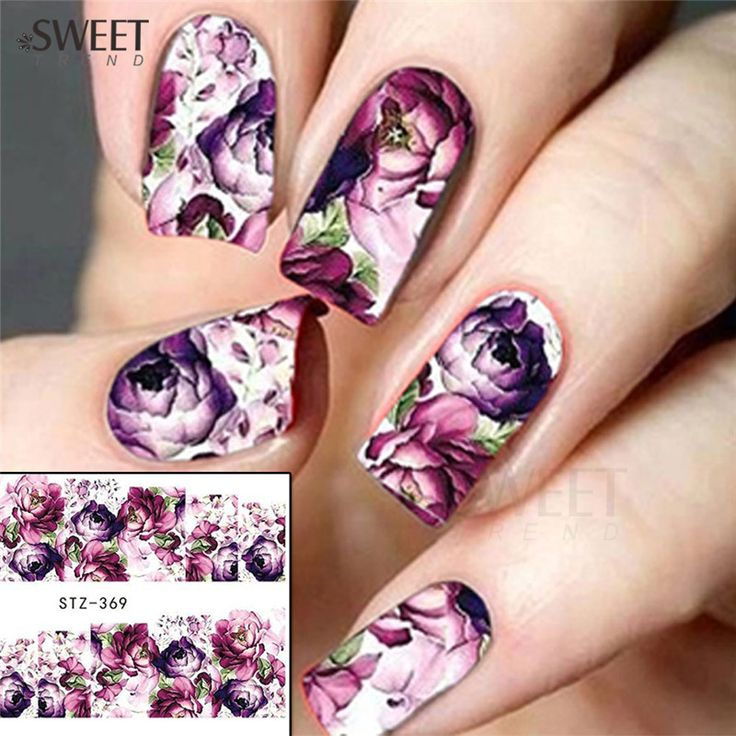 Buy 1 Sheet Purple Flower Full Wraps Nail Art Water Transfer Stickers Decals Beauty Nail Decor Watermark Nail Decals DIY STZ369 at JacLauren.com