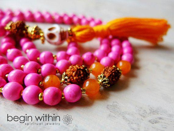 Skull Mala Beads - Skull Prayer Bead Necklace - Pink Magnesite, Jade, Rudraksha - Yoga Inspired Jewelry via Etsy