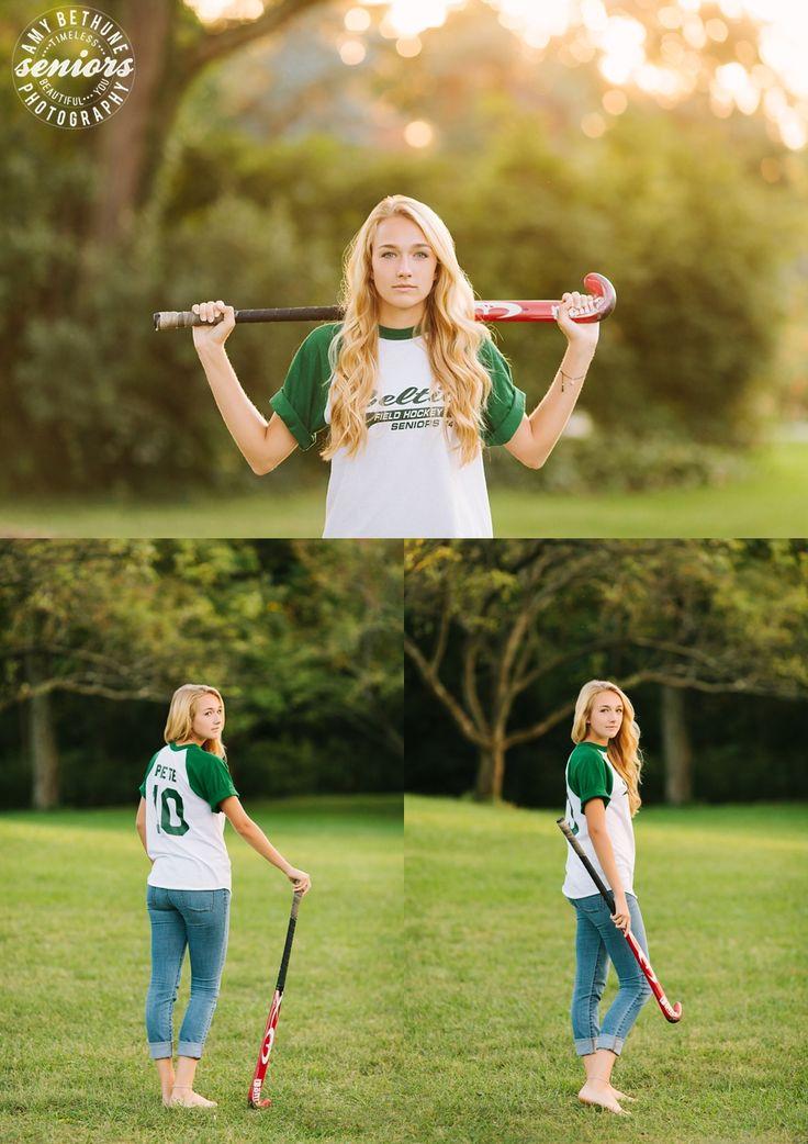 field hockey senior girl poses